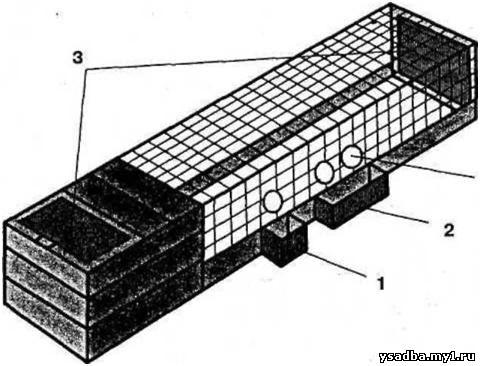 Схема клетки для перепелов: 1